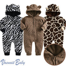 "NWT Vaenait Baby Newborn Animal Fleece Jumpsuit Onepiece Bodysuit""Safari romper"""