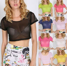 Sexy Womens Candy Color Mesh Sheer See Through Crop Top Stretch Short Tops Shirt