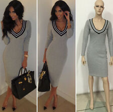 Fall winter 2014 sexy grey sweater bodycon dress casual midi varsity dress