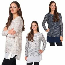 Womens Soft Knit Asymmetric Oversized Batwing Jumper Sweater Top Tunic Necklace
