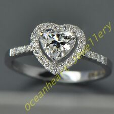Not Fade NICE Jewelry Ladys 925 Silver Heart White Sapphire Wedding Ring gift