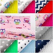 MINKY PILLOW PATTERNED REVERSIBLE 30x40cm  SOFT COSY COT CRIB PRAM COTTON BABY