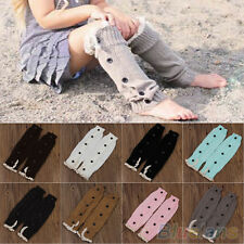 Kids Girls New Fashion Knitted Button Lace Leg Warmers Trim Boot Cuffs Socks