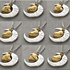 """2015 Chic Family """"I LOVE YOU TO THE MOON AND BACK """" Necklace Pendant Gold/Silver"""
