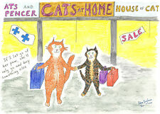 blank A5 card Cats Go Shopping department store Cats At Home cartoon cattoon