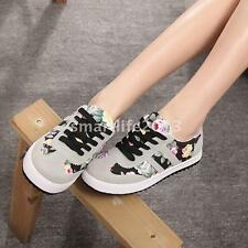 Women Canvas Sneakers Flower Print Lace Up Low Top Shoes Street Casual Style