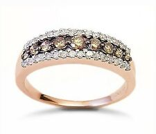 Stunning! 10K Rose Gold Chocolate Brown & White Diamond Band Ring .50ct