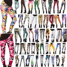 Womens Sexy Graphic Pattern Skinny Leggings Stretchy Jeggings Pencil Tight Pant