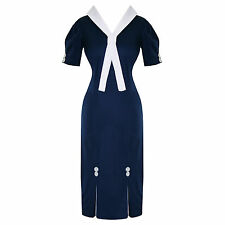 Hell Bunny Jackie Blue Fitted Nautical Sailor Vintage Rockabilly Pencil Dress