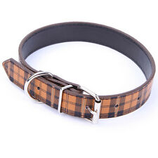 Grid Style Adjustable Personalized Leather Neck Buckle Pet Dog Cat Puppy Collar