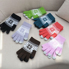 WOMENS FAIRISLE SNOWFLAKE THICK TOUCH SCREEN SMART KNITTED WINTER GLOVES WARM
