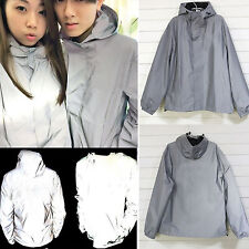Women Men's Unisex 3M Reflective Hooded Photo Jacket Travel Zip Coat Windbreaker