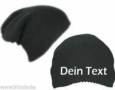 Longbeanie Black, With Your Desired Text Embroidered + Block Letters + Slouch
