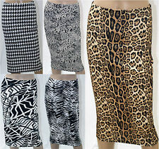 New Womens Ladies Midi Skirt Zebra Leopard Animal Geo Monochrome Print Stretch