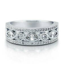BERRICLE Sterling Silver CZ Art Deco Half Eternity Band Ring 0.93 Carat