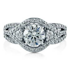 BERRICLE Sterling Silver Round Cut CZ 3-Stone Halo Engagement Ring 2.08 Carat