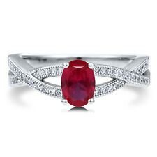 Silver 0.94 CT Oval Simulated Ruby CZ Woven Solitaire Promise Engagement Ring