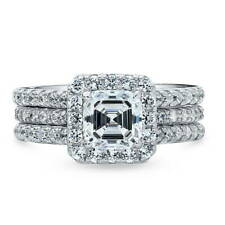 BERRICLE Sterling Silver 2.36 ct.tw Asscher CZ Halo Engagement Wedding Ring Set