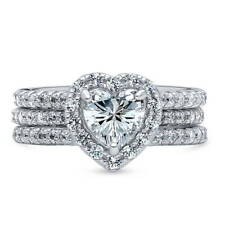 BERRICLE Sterling Silver 2.21 ct.tw CZ Halo Heart Engagement Wedding Ring Set