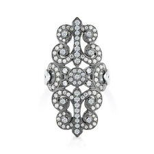 BERRICLE Black Rhodium Plated Sterling Silver CZ Art Deco Fashion Ring