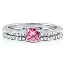 BERRICLE Sterling Silver 0.655 Carat Round Pink CZ Solitaire Engagement Ring Set