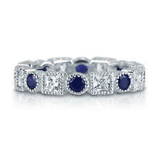 BERRICLE 925 Silver Simulated Sapphire CZ Art Deco Eternity Band Ring 2.32 Carat