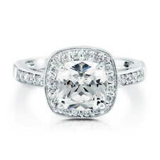 BERRICLE Sterling Silver 2.46 Carat Cushion Cut CZ Halo Engagement Ring