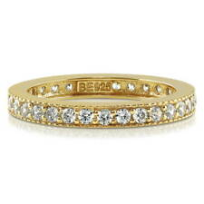 BERRICLE Gold Plated Sterling Silver Round CZ Wedding Eternity Band Ring