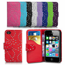 Diamond Bling Gliter Flip Wallet Case Cover For Samsung Galaxy S4 Mini I9190