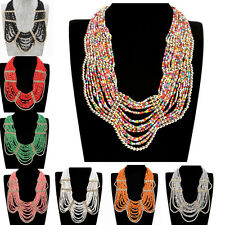 Fashion Multilayer Chain Resin Seed Bead Strand Statement Choker Chunky Necklace