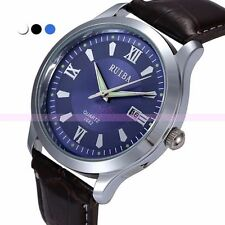 Leather Quartz Analog Mens Boys Sport Date Calendar Watch Business Wrist Watches