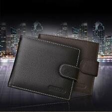 New Men Leather Card Cash Receipt Holder Organizer Bifold Wallet Purse Excellent