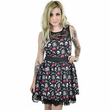 Too Fast Anatomy Skeleton & Crossbones Lace Ribcage Design Black Gothic Dress