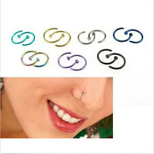 2pcs Stainless Steel Nose Open Hoop Ring Earring Body Piercing Studs Jewelry A3