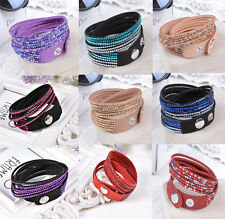 New Fashion Jewelry Crystal 2wrap Around PU Leather Adjustable Bracelet