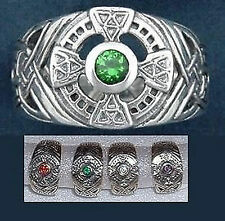 Sterling Silver Celtic Ring with CZ  4 sizes and 4 Stone Choices fnt