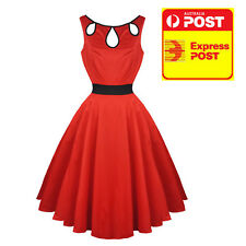 Hearts & Roses Red Black Cut Out Prom 50s Dress Vintage Rockabilly 12 14 16