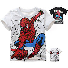 Spiderman Short Sleeve T Shirt Top Girls Boys Kids Summer Blouse 2-7 Years