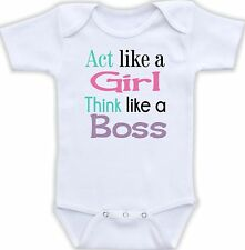 Act Like a Girl Think Like a Boss Cute Baby Onesie Funny Onsie Cool Shower Gift