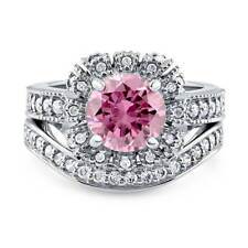 BERRICLE Sterling Silver Round Pink CZ Halo Engagement Wedding Ring Set