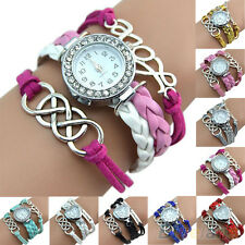 Vintage Silver Double Eight Love Charm Leather Band Bracelet Style Wrist Watch