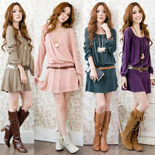 Women Girl Scoop Neck Pleated Drop Waisted Mini Loose Dress Casual & Belt Party