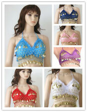 Colorful Sexy Folded lace Coins Chiffon Belly Dance Costume Top Bra 32A to 36C