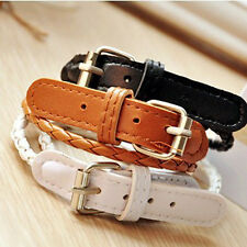 Beautiful Korean Style Weaved Leather Double Wrap Belt Bracelet