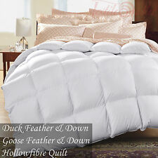 LUXURY DUCK FEATHER, GOOSE FEATHER & DOWN MICROFIBRE DUVET QUILTS ALL SIZE & TOG