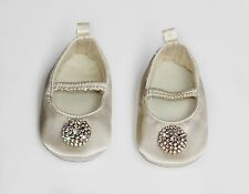Baby Shoes Ballet Flat Satin Ivory Handmade Christening Shoes Flower Girl Shoes