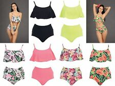 2  PIECE SWIMSUIT FLUTTER TOP HIGH WAISTED BOTTOM BIKINI TANKINI SIZE S-XL #B122