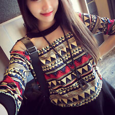 New Women's Floral Long Sleeve T-Shirt Casual Crewneck Pullover Tops Blouse Tees