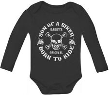 Son of A Biker Baby Long Sleeve Onesie Born To Ride Motorcycle Skull Cool Harley