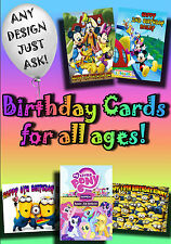PERSONALISED birthday card. Large A5 size 100s of designs inc disney greetings .
